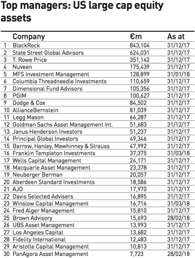 top managers us large cap equity assets 2018