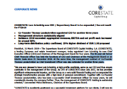 CORESTATE: Lars Schnidrig new CEO / Supervisory Board to be expanded / Record result for FY2018