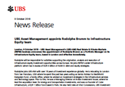 UBS Asset Management appoints Rodolphe Brumm to Infrastructure Equity team