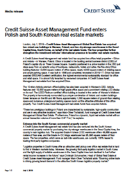 Credit Suisse Asset Management Fund enters Polish and South Korean real estate markets