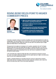 rising bond yields point to higher commodity prices