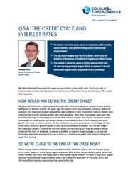 the credit cycle and interest rates