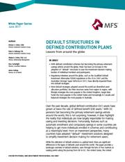 default structures in defined contribution plans
