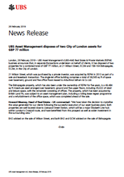 UBS Asset Management disposes of two City of London assets for GBP 77 million