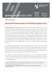Warburg-HIH Invest acquires Carré Göttingen shopping centre