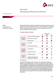 revisiting the recession checklist