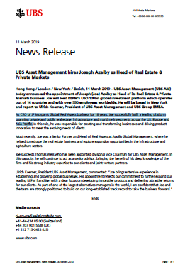 UBS Asset Management hires Joseph Azelby as Head of Real Estate & Private Markets